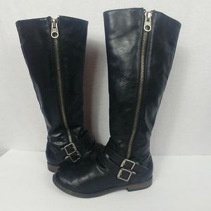 Rampage size 7.5 Black Leather Knee High Boots